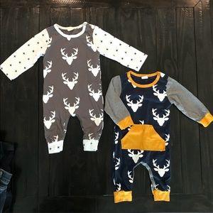 Two Deer Antler Baby Onesie Suits